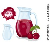 glass jug with natural juice.... | Shutterstock .eps vector #1211553088