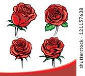 Stock vector vector roses set 121157638