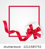 red frame with white gift box ... | Shutterstock .eps vector #1211585752