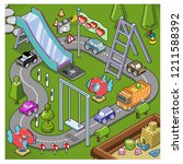 little cars racing on round... | Shutterstock .eps vector #1211588392