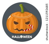 vector halloween pumpkin icon.... | Shutterstock .eps vector #1211592685