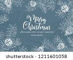 christmas sketch hand drawn... | Shutterstock .eps vector #1211601058