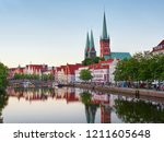 historic city of luebeck with... | Shutterstock . vector #1211605648