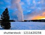winter at old faithful area | Shutterstock . vector #1211620258