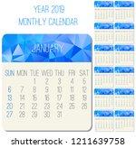 year 2019 vector monthly...   Shutterstock .eps vector #1211639758