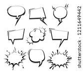 big set hand drawn monochrome... | Shutterstock .eps vector #1211649442