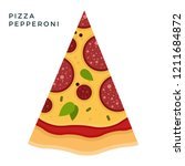 triangular piece of pepperoni... | Shutterstock .eps vector #1211684872