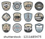 car repair service badges with... | Shutterstock .eps vector #1211685475