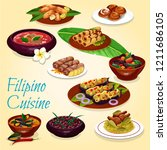 filipino cuisine  meat and... | Shutterstock .eps vector #1211686105