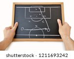 coach with a blackboard with... | Shutterstock . vector #1211693242