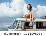 Beautiful Woman Travel By Car...