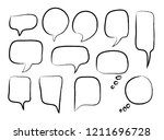 vector bubbles speech set. hand ... | Shutterstock .eps vector #1211696728