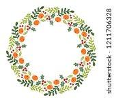 christmas hand drawn wreath... | Shutterstock .eps vector #1211706328
