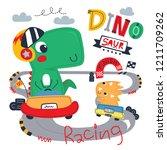 cute dinosaur cartoon driving a ... | Shutterstock .eps vector #1211709262