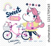 cute unicorn girl with pink... | Shutterstock .eps vector #1211709265