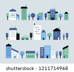 a toy town house with a small ... | Shutterstock .eps vector #1211714968
