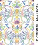 baroque damask pattern ... | Shutterstock . vector #1211716468