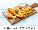 fish and chips with french... | Shutterstock . vector #1211722585