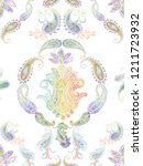 baroque damask pattern ...   Shutterstock . vector #1211723932