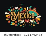 mexico country typography... | Shutterstock .eps vector #1211742475