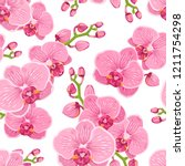 seamless floral pattern with... | Shutterstock .eps vector #1211754298