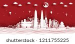 panorama postcard and travel... | Shutterstock .eps vector #1211755225