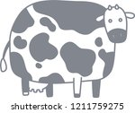 cute cow silhouette illustration   Shutterstock .eps vector #1211759275