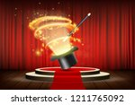 magic wand and hat on stage... | Shutterstock .eps vector #1211765092