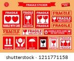 set of fragile sticker. using... | Shutterstock .eps vector #1211771158