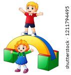 happy kids playing in the... | Shutterstock . vector #1211794495