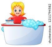 happy girl cleaning bathtub on...   Shutterstock . vector #1211794582