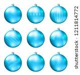 light blue christmas balls... | Shutterstock .eps vector #1211814772