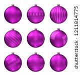 pink christmas balls isolated... | Shutterstock .eps vector #1211814775