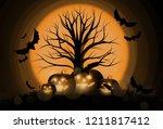 dark cute halloween pumpkins... | Shutterstock .eps vector #1211817412