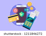 mobile phone payment icon in... | Shutterstock .eps vector #1211846272