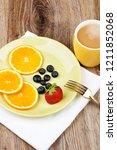 photo of healthy breakfast on... | Shutterstock . vector #1211852068
