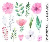 watercolor hand painted... | Shutterstock . vector #1211856598