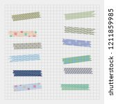 set of vector adhesive washi ... | Shutterstock .eps vector #1211859985