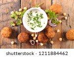 fried falafel and dip | Shutterstock . vector #1211884462
