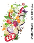 flying fresh vegetables on... | Shutterstock . vector #1211891662