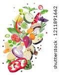 flying fresh vegetables on... | Shutterstock . vector #1211891662