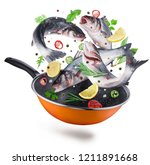flying seabass fishes and... | Shutterstock . vector #1211891668