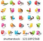cartoon colorful alphabet set... | Shutterstock . vector #1211892568
