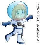 cartoon little girl in... | Shutterstock . vector #1211892622