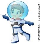 cartoon little boy in astronaut ... | Shutterstock . vector #1211892625