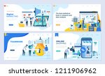 set of landing page template... | Shutterstock .eps vector #1211906962