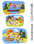 kids summer camping cartoon... | Shutterstock . vector #1211915188