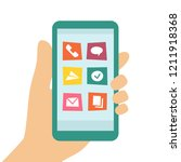 smart phone screen and apps.... | Shutterstock .eps vector #1211918368