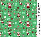 seamless cute santa clause and... | Shutterstock .eps vector #1211918575