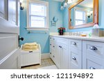 blue and white bathroom with... | Shutterstock . vector #121194892